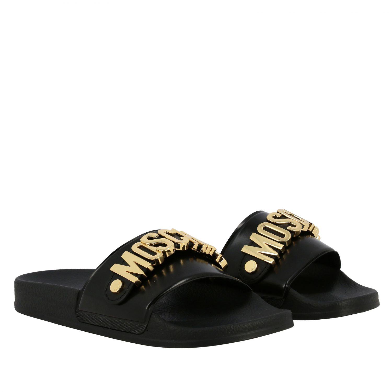 Sandalo Moschino Couture con maxi logo metallico nero 2