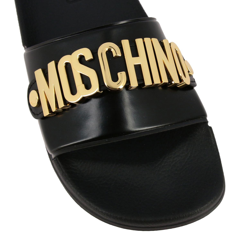 Sandalo Moschino Couture con maxi logo metallico nero 4