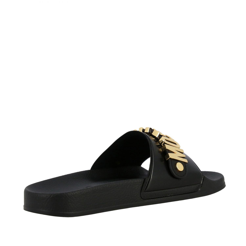 Sandalo Moschino Couture con maxi logo metallico nero 5