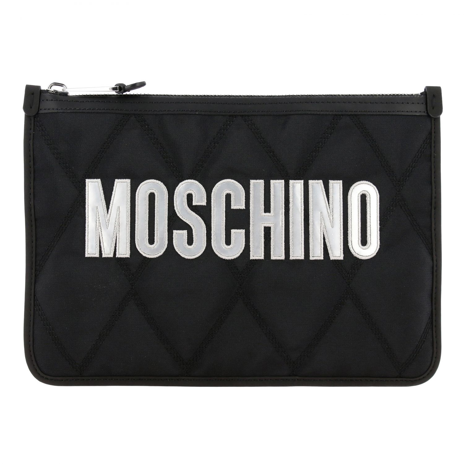 Moschino Couture nylon clutch with laminated logo black 1