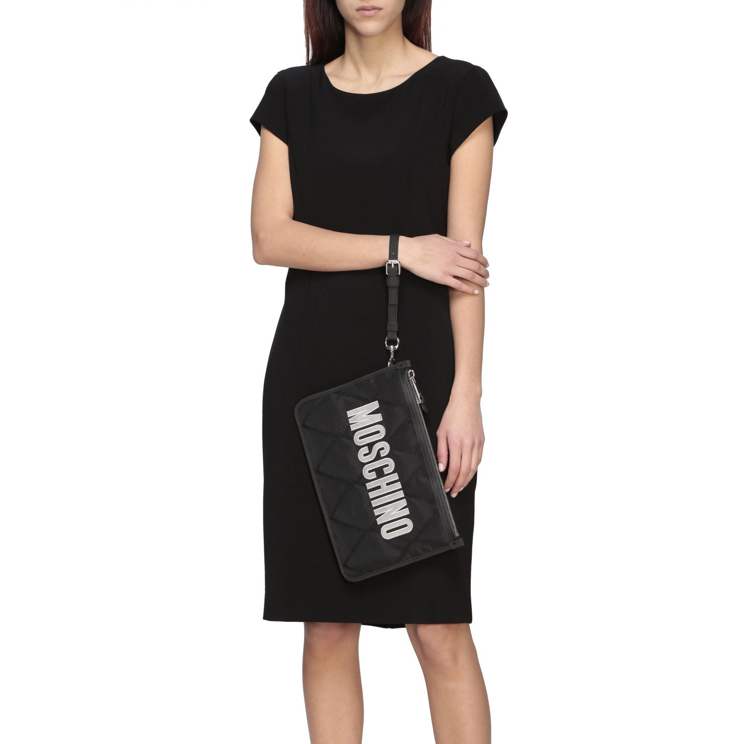 Moschino Couture nylon clutch with laminated logo black 2
