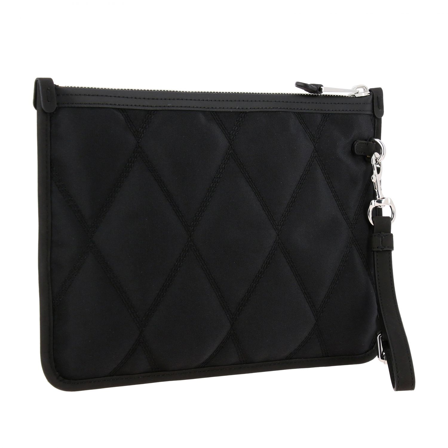 Moschino Couture nylon clutch with laminated logo black 3