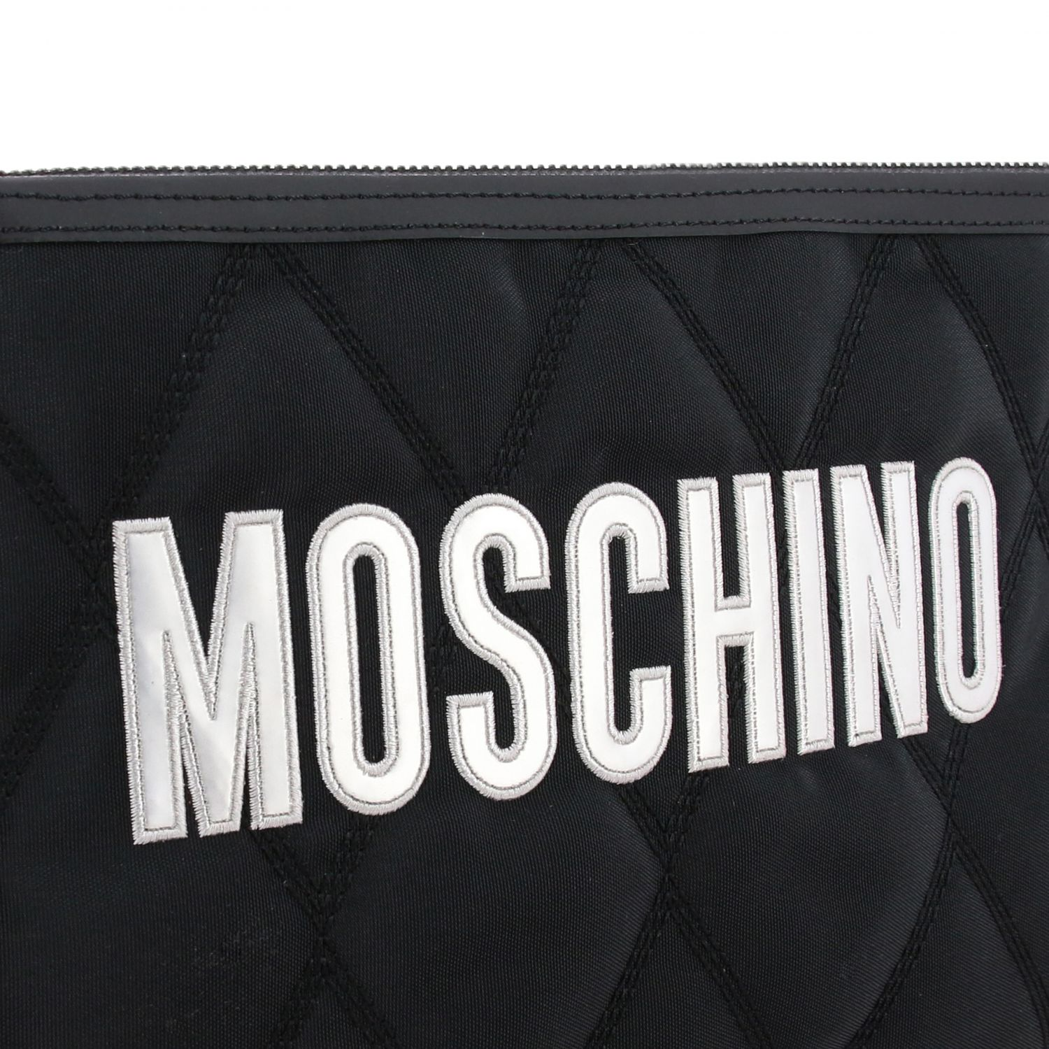 Moschino Couture nylon clutch with laminated logo black 4