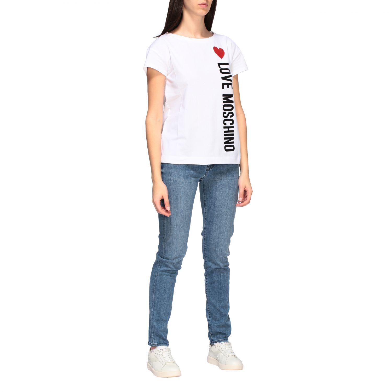 T-shirt Love Moschino a maniche corte con stampa logo bianco 2