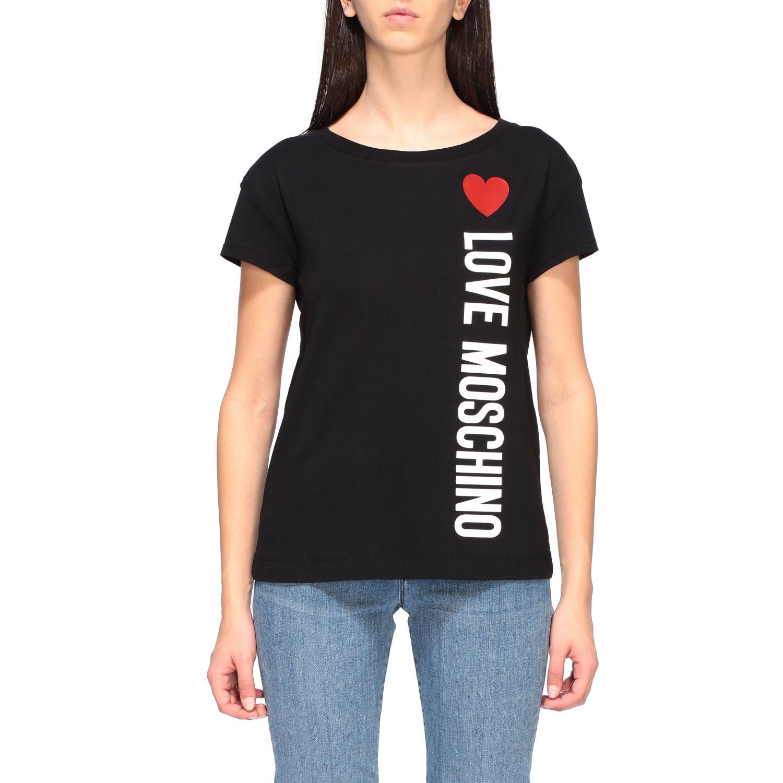T-shirt Love Moschino a maniche corte con stampa logo nero 1