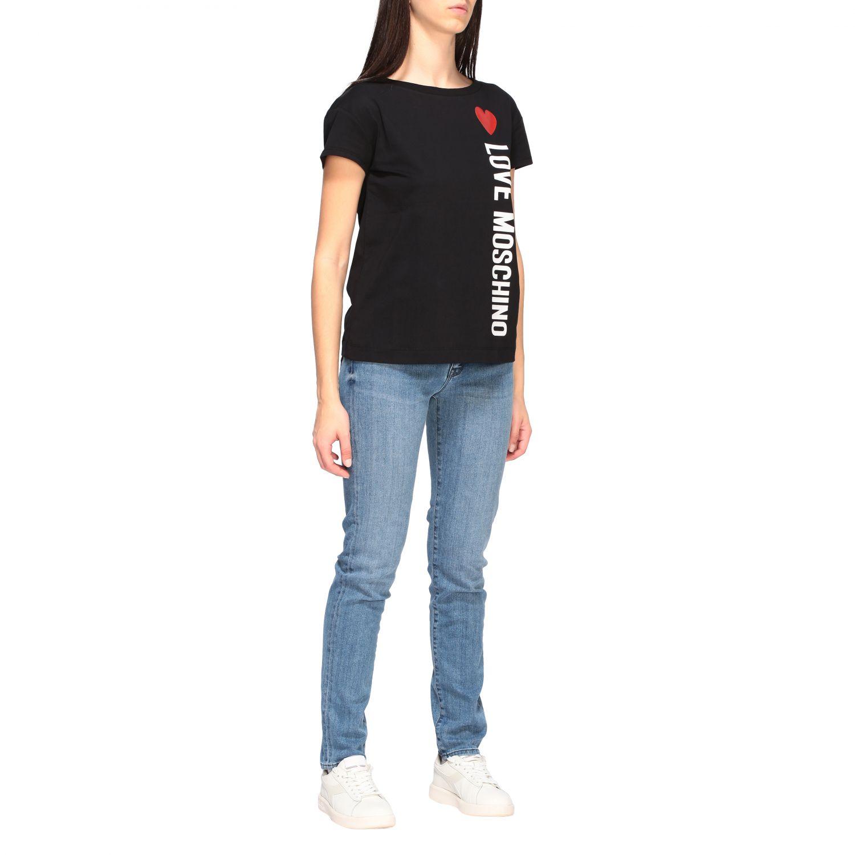 T-shirt Love Moschino a maniche corte con stampa logo nero 2