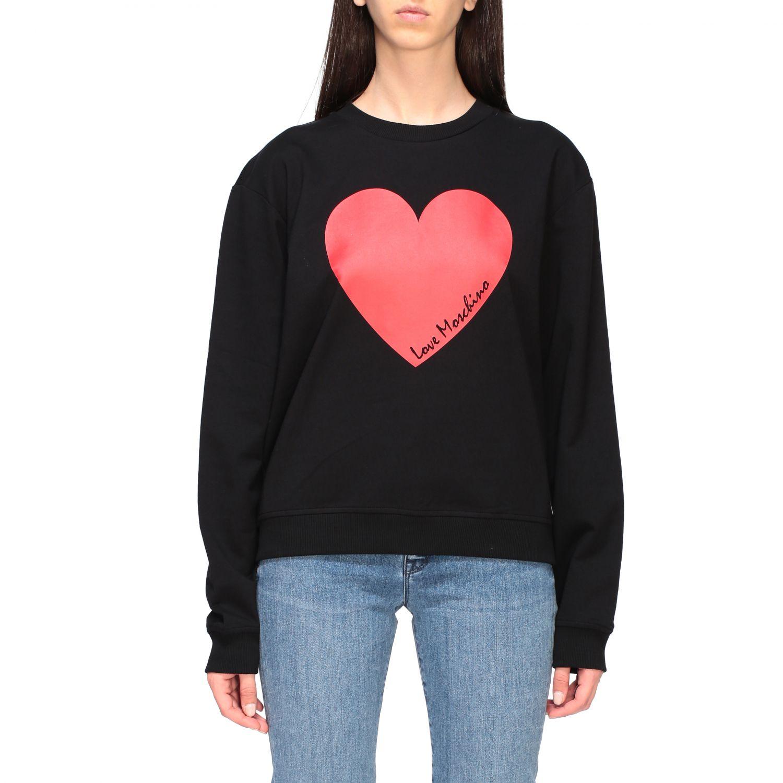 Sweat shirt Love Moschino avec logo en forme de cœur noir