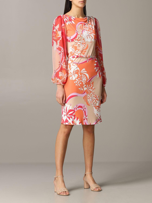 Kleid Emilio Pucci: Emilio Pucci Jerseykleid mit Vahiné-Print korall 1
