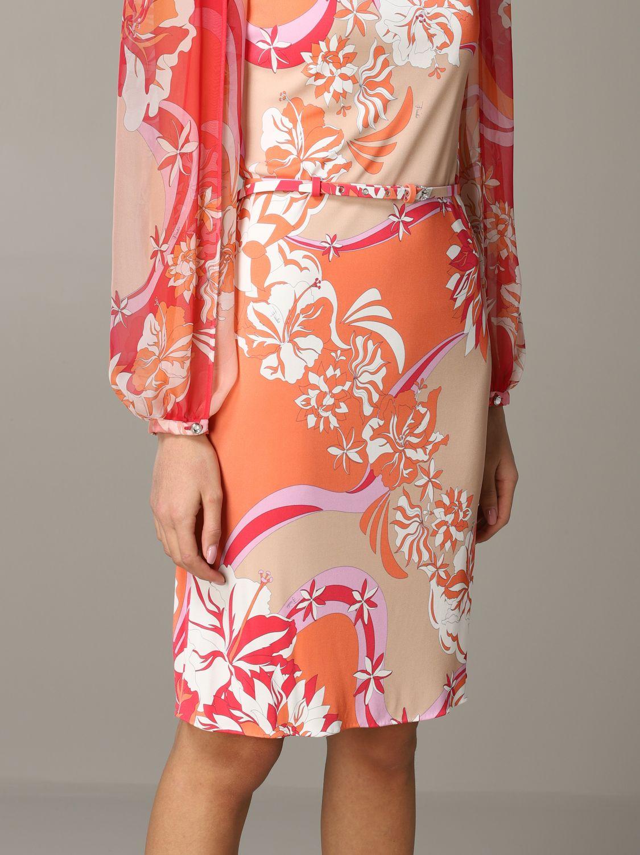 Kleid Emilio Pucci: Emilio Pucci Jerseykleid mit Vahiné-Print korall 4