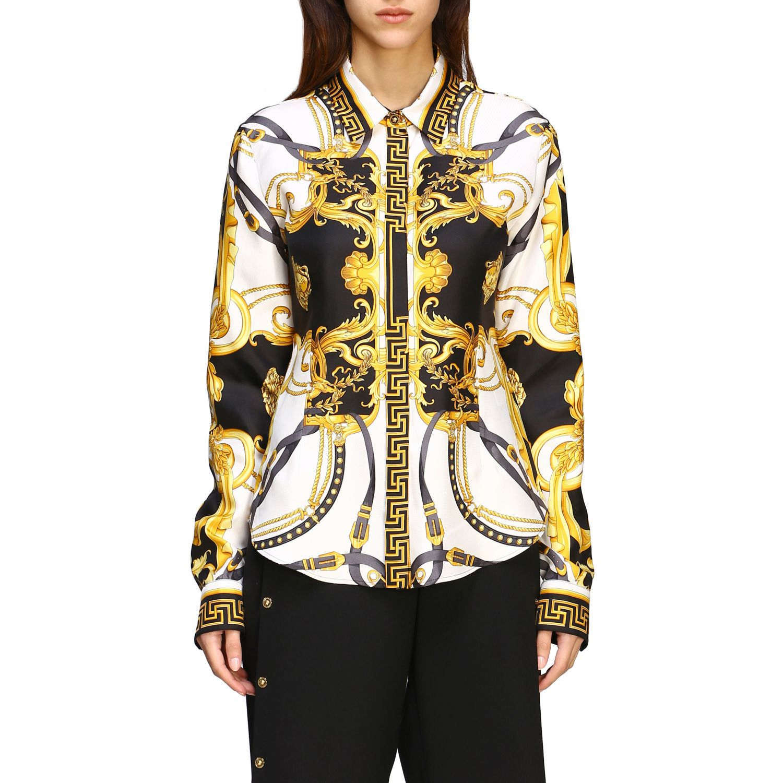 Versace silk shirt with baroque print white 1