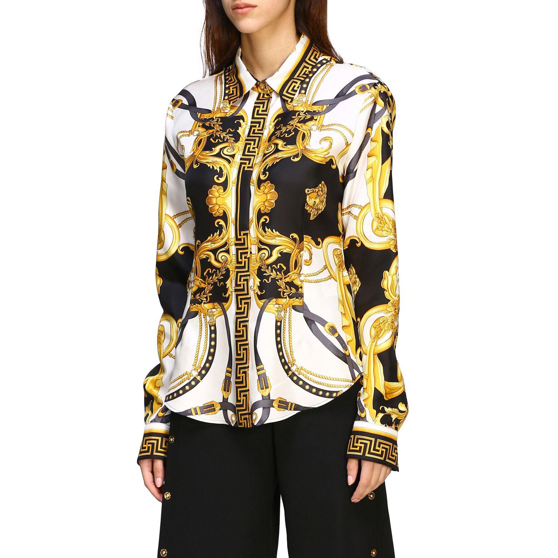 Versace silk shirt with baroque print white 3