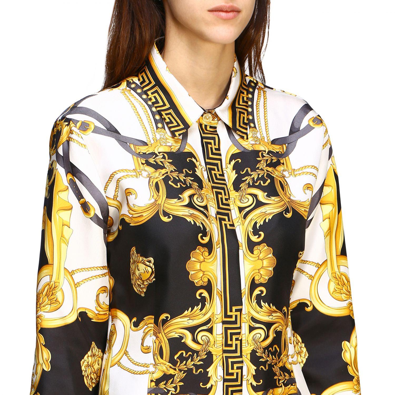 Versace silk shirt with baroque print white 4