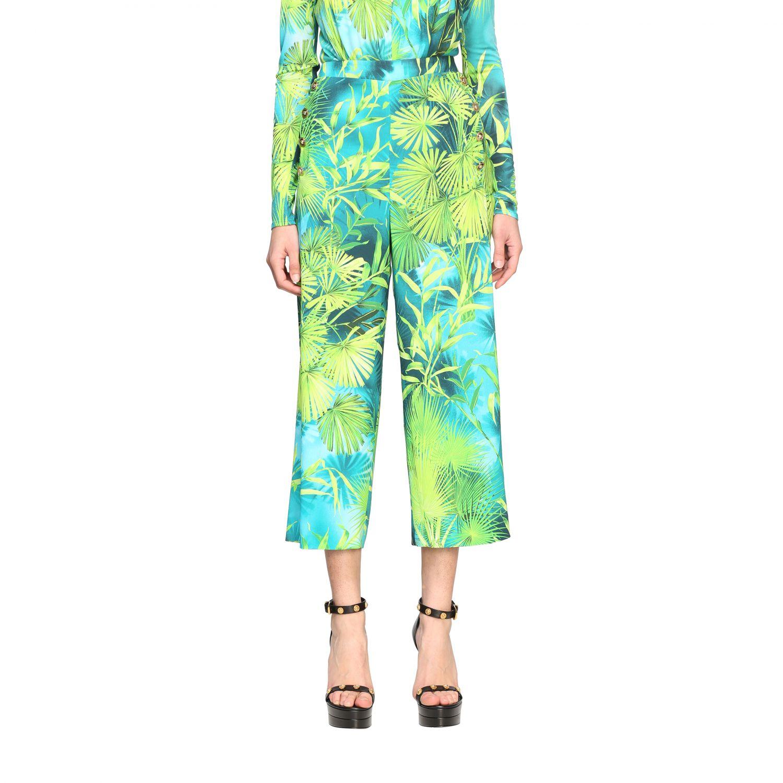 Pantalone Versace ampio con stampa jungle verde 1