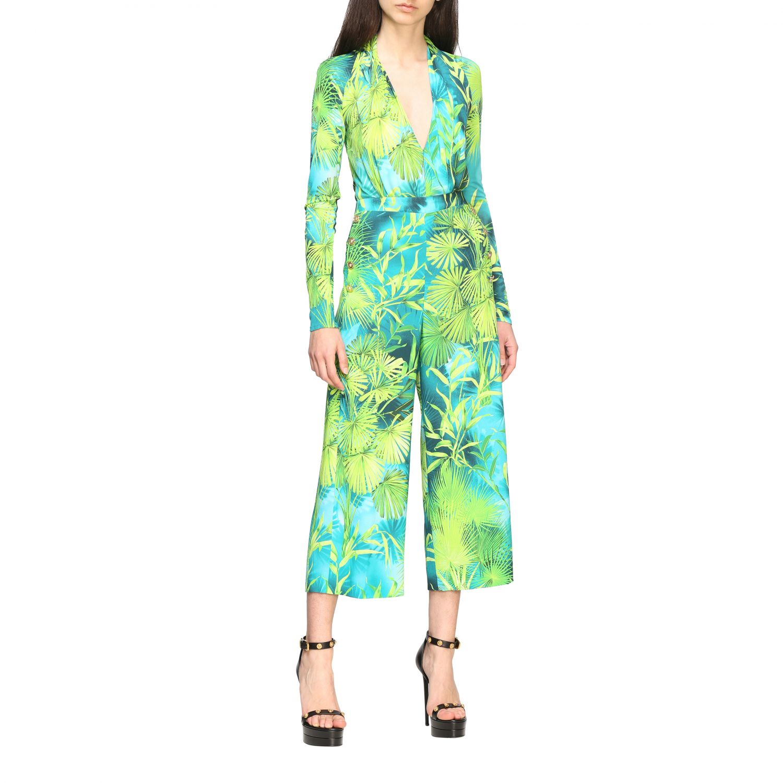 Pantalone Versace ampio con stampa jungle verde 2