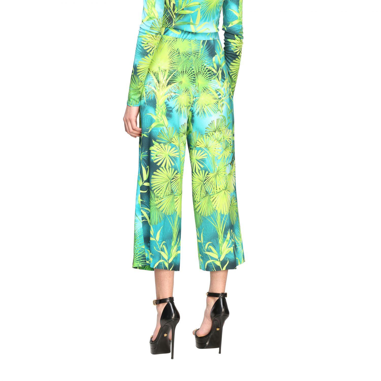 Pantalone Versace ampio con stampa jungle verde 3