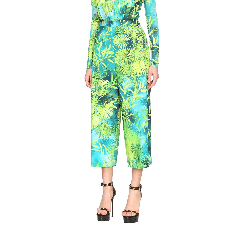 Pantalone Versace ampio con stampa jungle verde 4