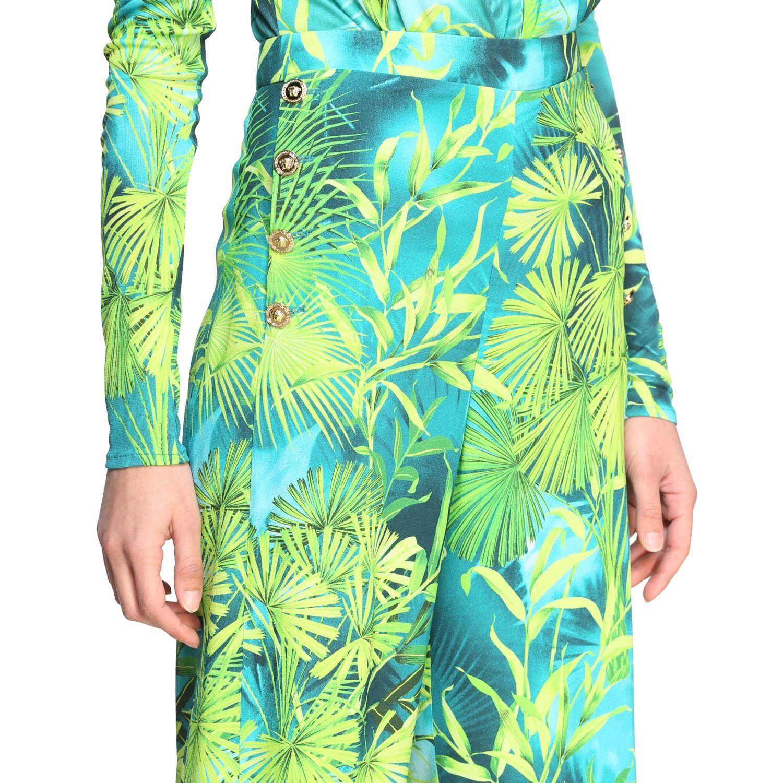 Pantalone Versace ampio con stampa jungle verde 5