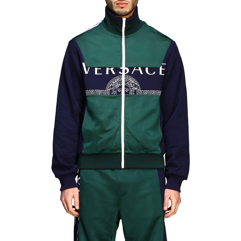 Felpa Versace con zip e logo blue 1