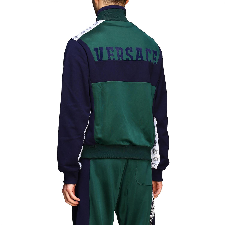 Felpa Versace con zip e logo blue 3