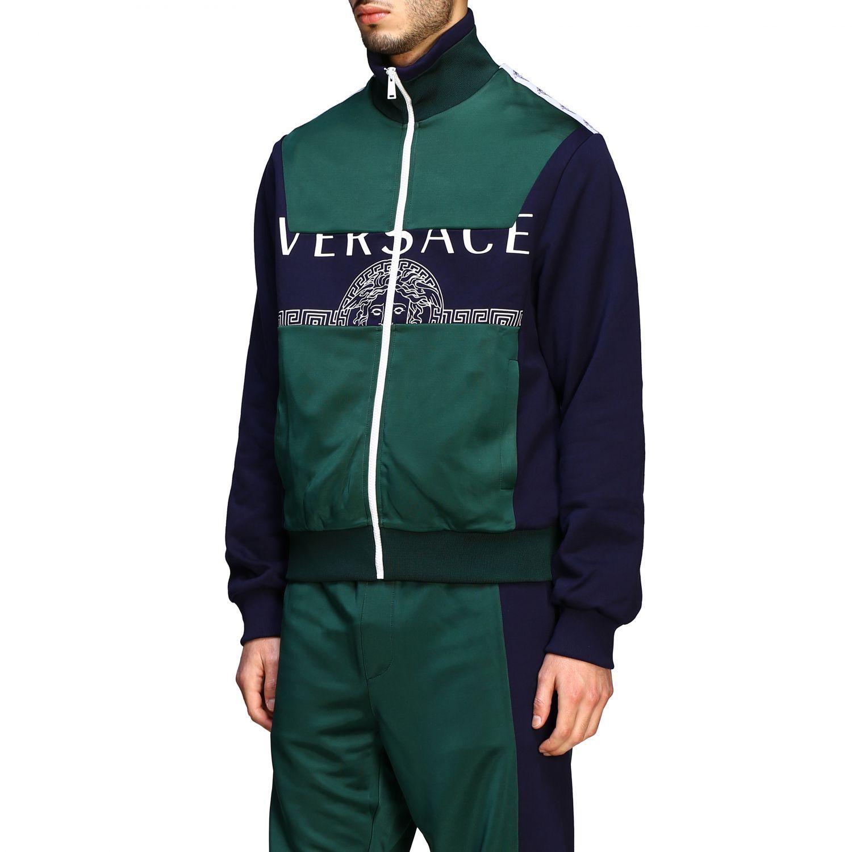 Felpa Versace con zip e logo blue 4