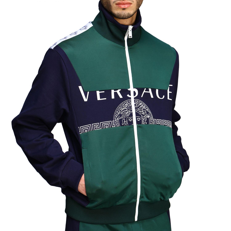 Felpa Versace con zip e logo blue 5