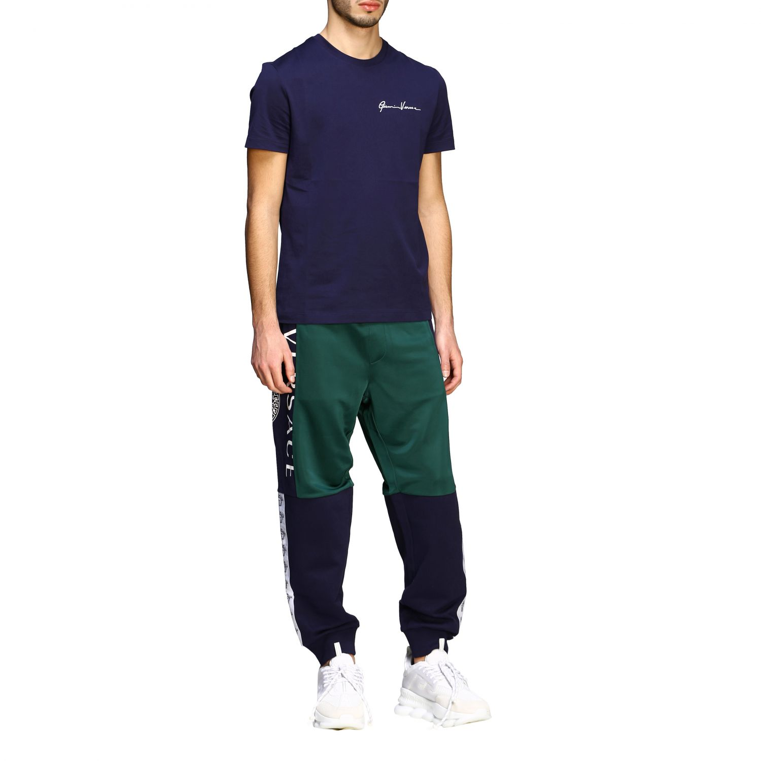 Sweat Versace: Versace two-tone jogging style trousers with logo blue 2