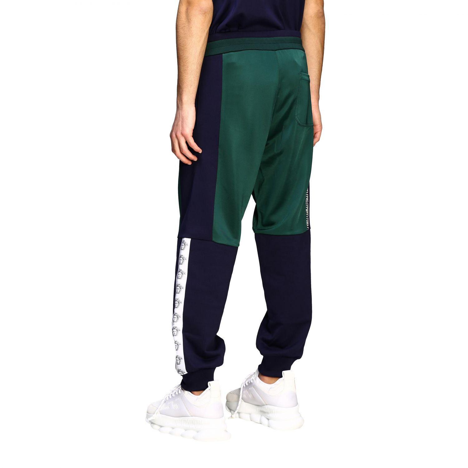 Sweat Versace: Versace two-tone jogging style trousers with logo blue 3