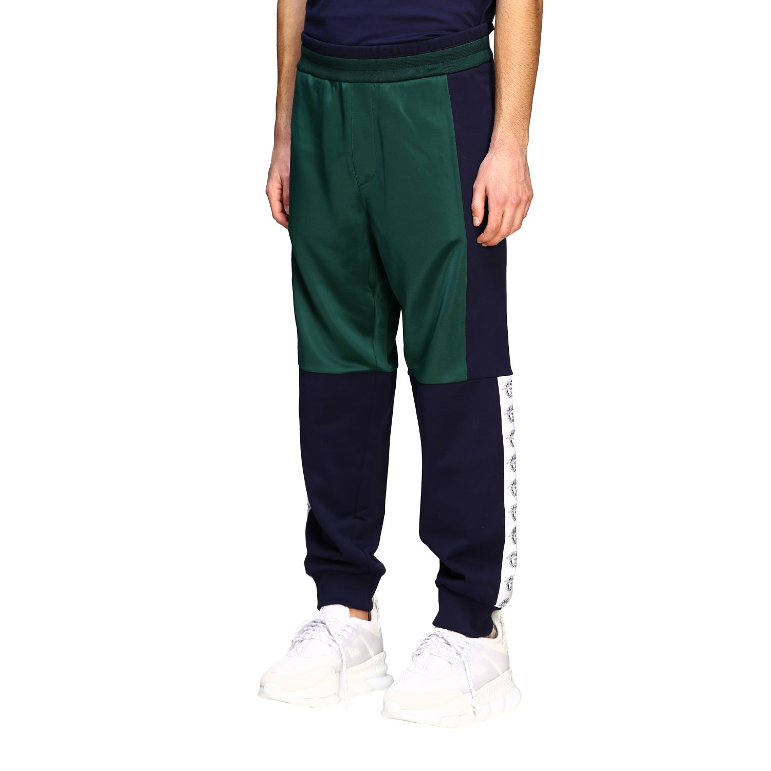 Sweat Versace: Versace two-tone jogging style trousers with logo blue 4