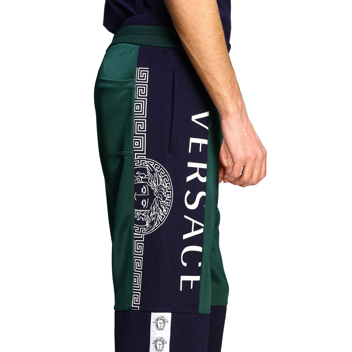 Sweat Versace: Versace two-tone jogging style trousers with logo blue 5