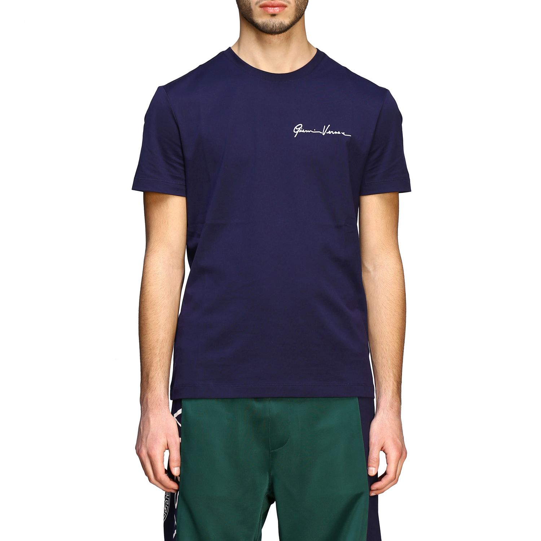 T-shirt Versace a maniche corte con firma Gianni Versace blue 1