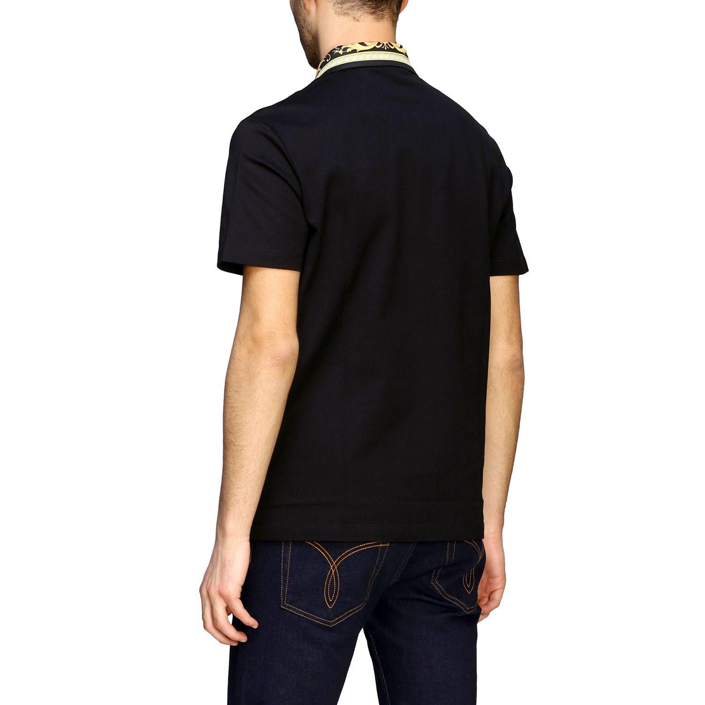 Polo Versace a maniche corte con logo e collo a fantasia barocca nero 3