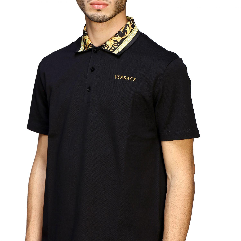 Polo Versace a maniche corte con logo e collo a fantasia barocca nero 5