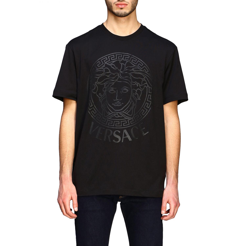 T-shirt Versace a maniche corte con big testa di medusa nero 1
