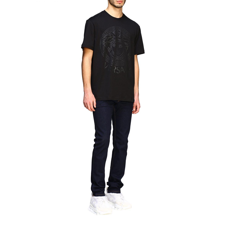 T-shirt Versace a maniche corte con big testa di medusa nero 2