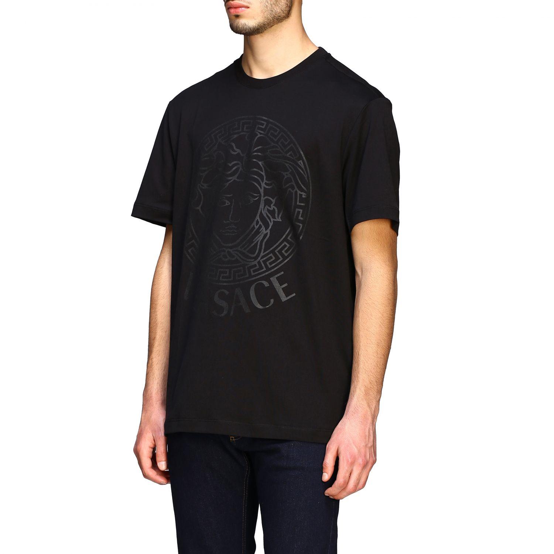 T-shirt Versace a maniche corte con big testa di medusa nero 4