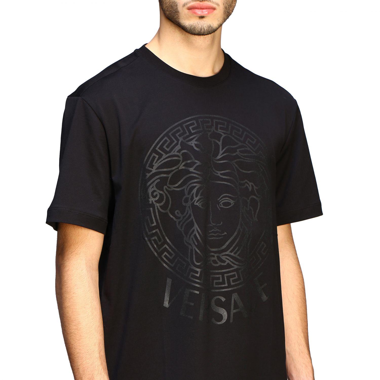 T-shirt Versace a maniche corte con big testa di medusa nero 5