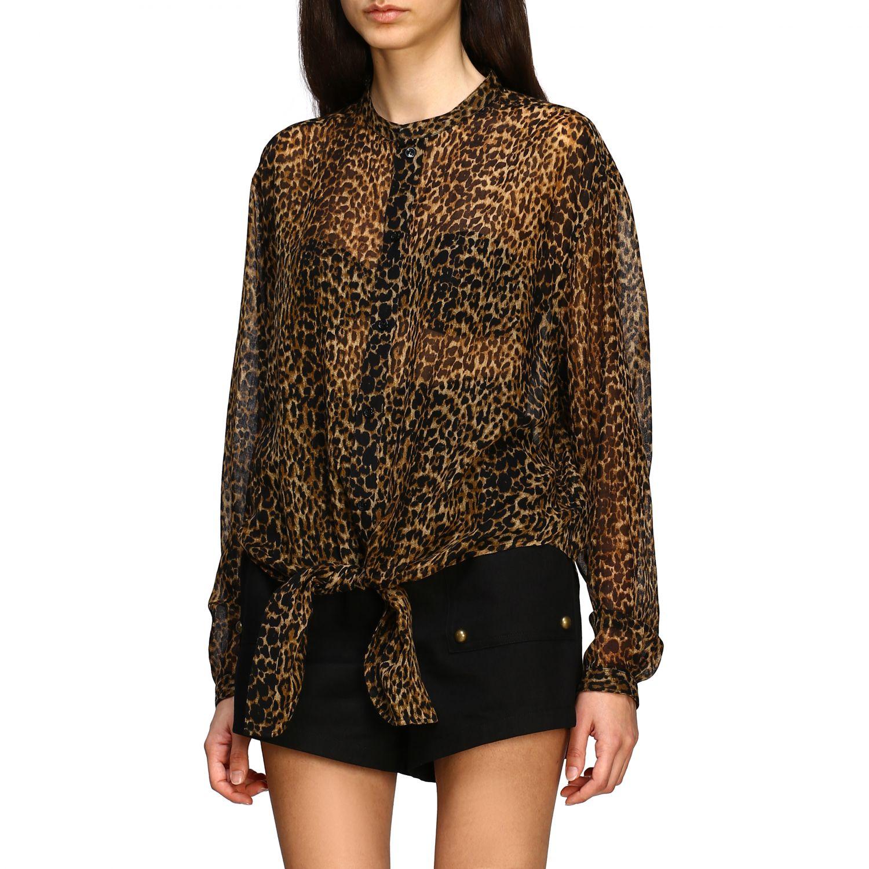 Saint Laurent shirt with animal print multicolor 4