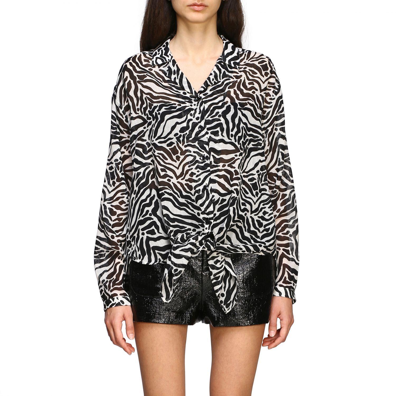 Camisa Saint Laurent con estampado animal negro 1