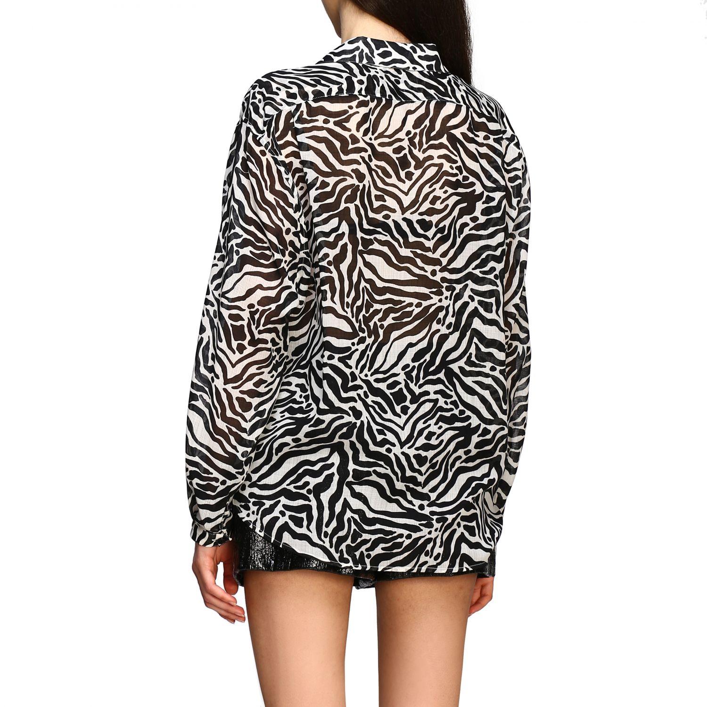 Camisa Saint Laurent con estampado animal negro 3