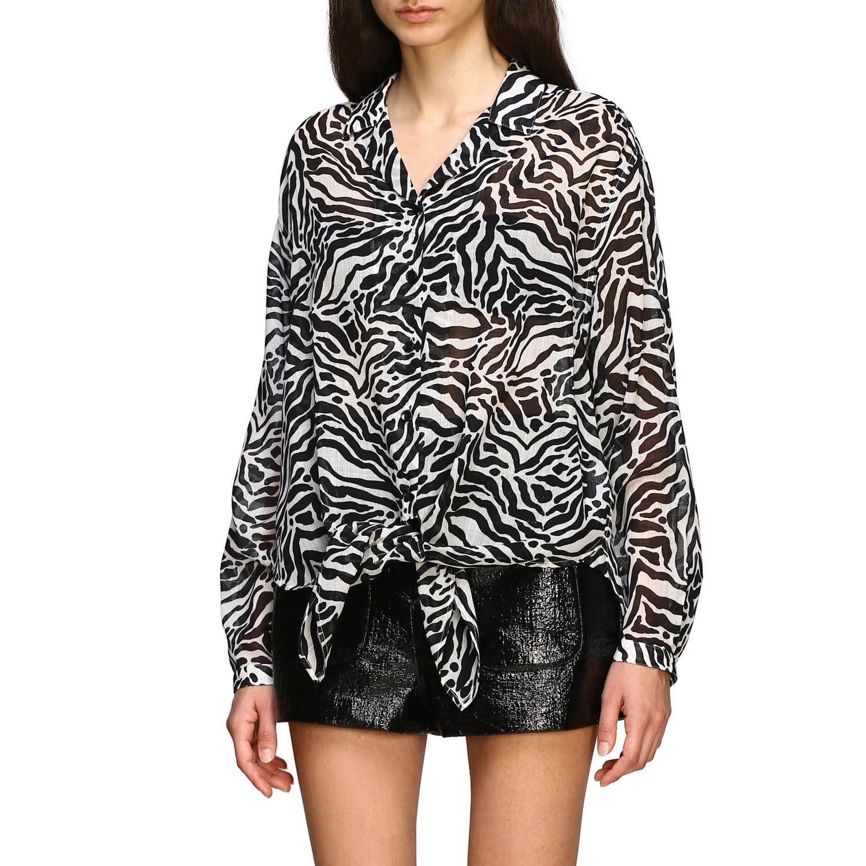 Camisa Saint Laurent con estampado animal negro 4