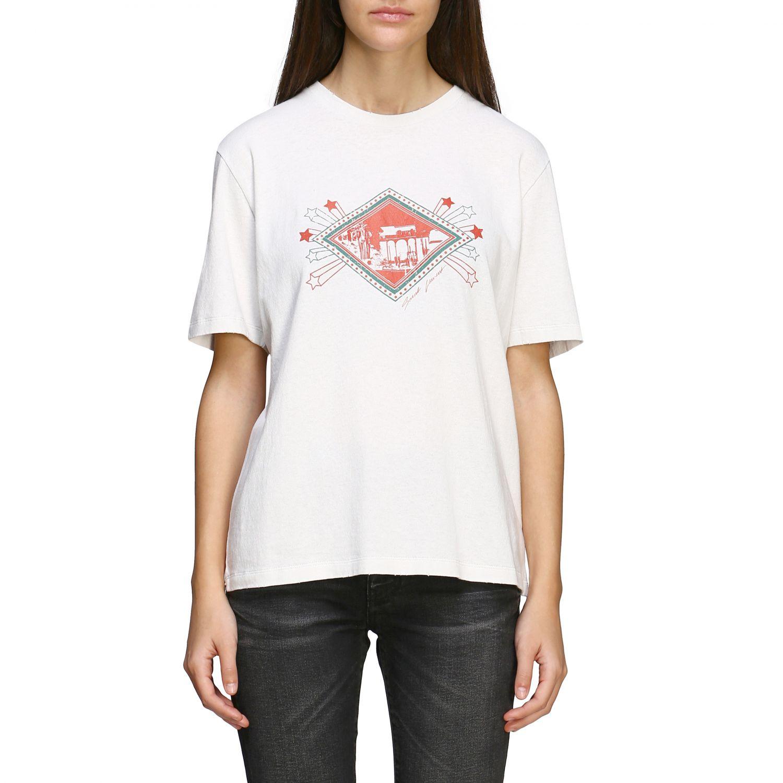 T-shirt Saint Laurent a maniche corte con stampa jardin majorelle e logo bianco 1