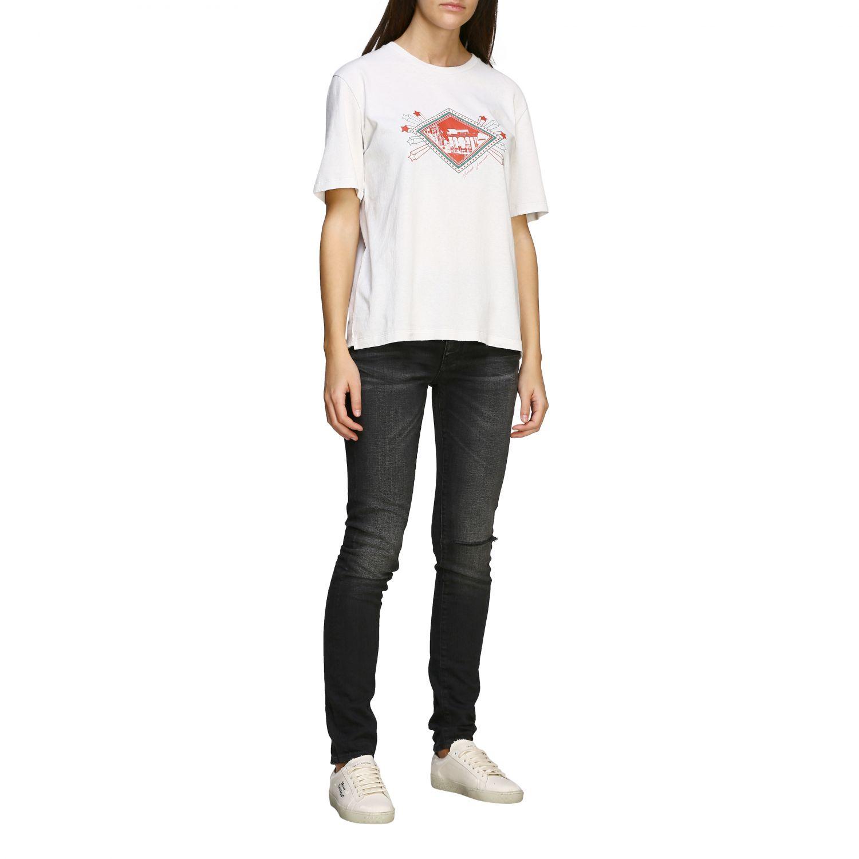 T-shirt Saint Laurent a maniche corte con stampa jardin majorelle e logo bianco 2