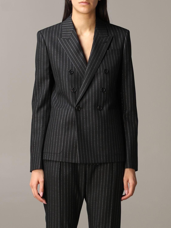 Saint Laurent pinstripe lurex jacket black 1