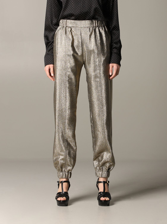 Pantalone Saint Laurent in tessuto laminato oro 1