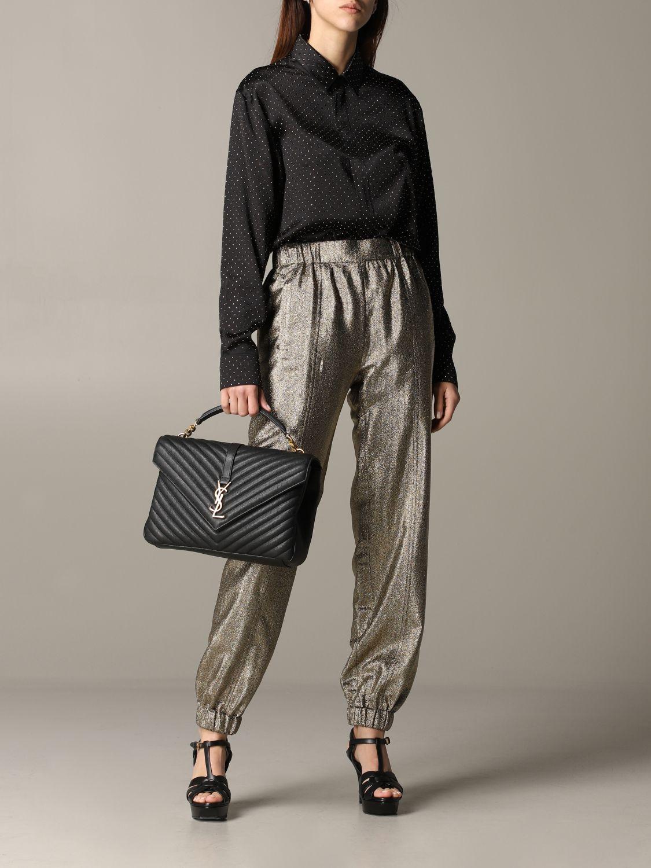 Pantalone Saint Laurent in tessuto laminato oro 2