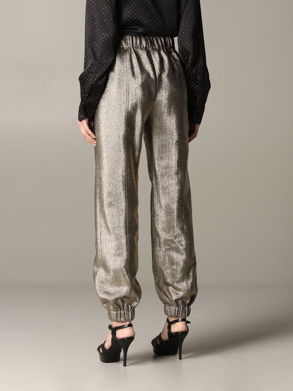 Pantalone Saint Laurent in tessuto laminato oro 3