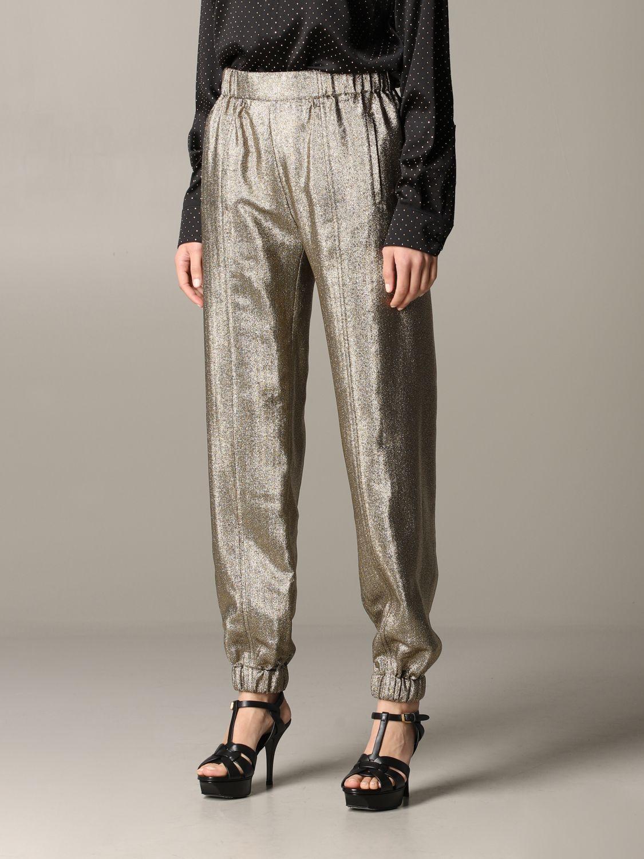 Pantalone Saint Laurent in tessuto laminato oro 4