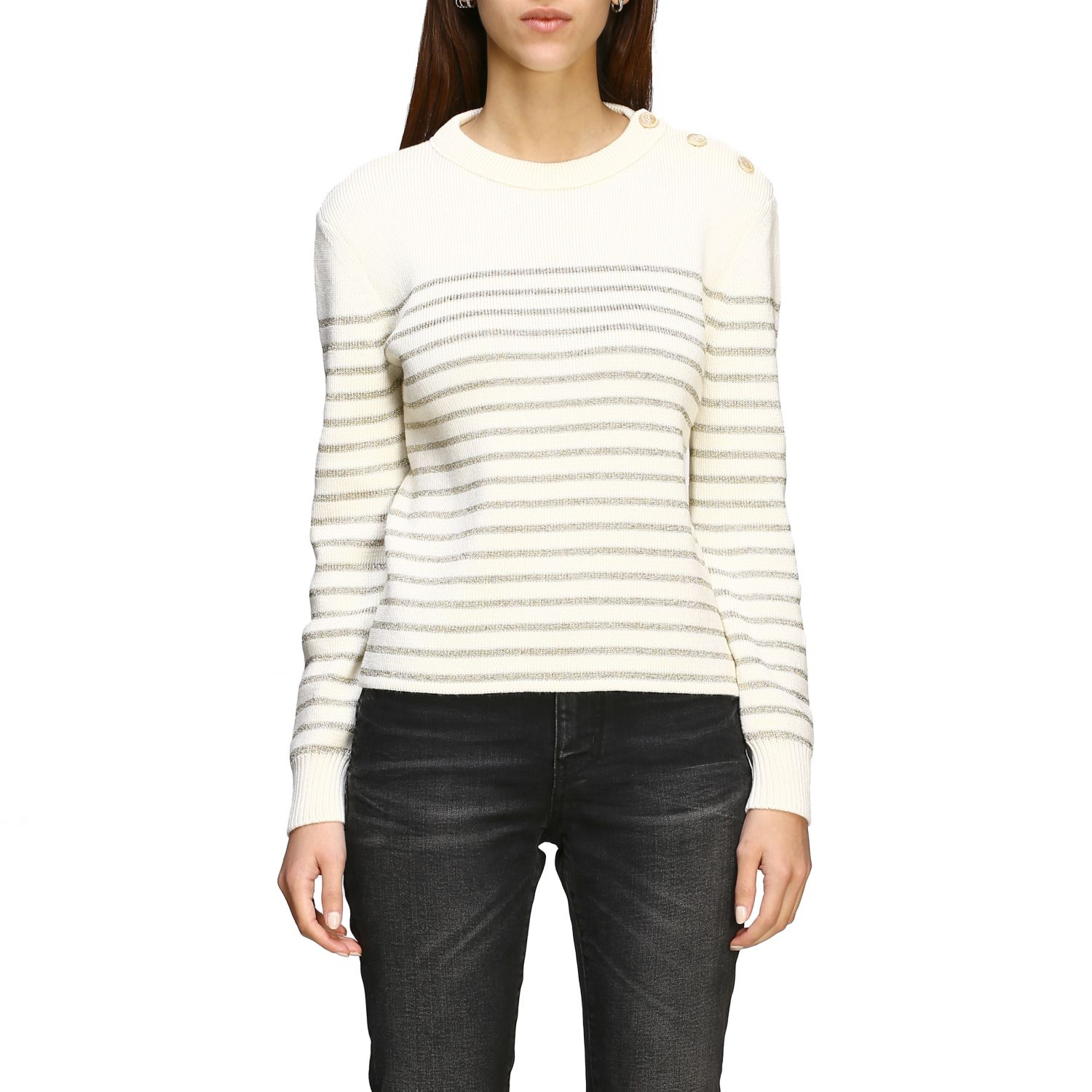 Saint Laurent lurex striped pullover with jewel buttons white 1