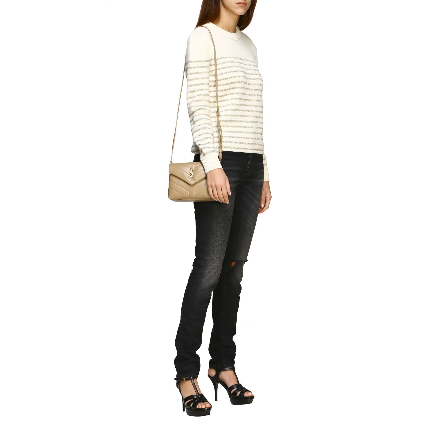 Saint Laurent lurex striped pullover with jewel buttons white 2