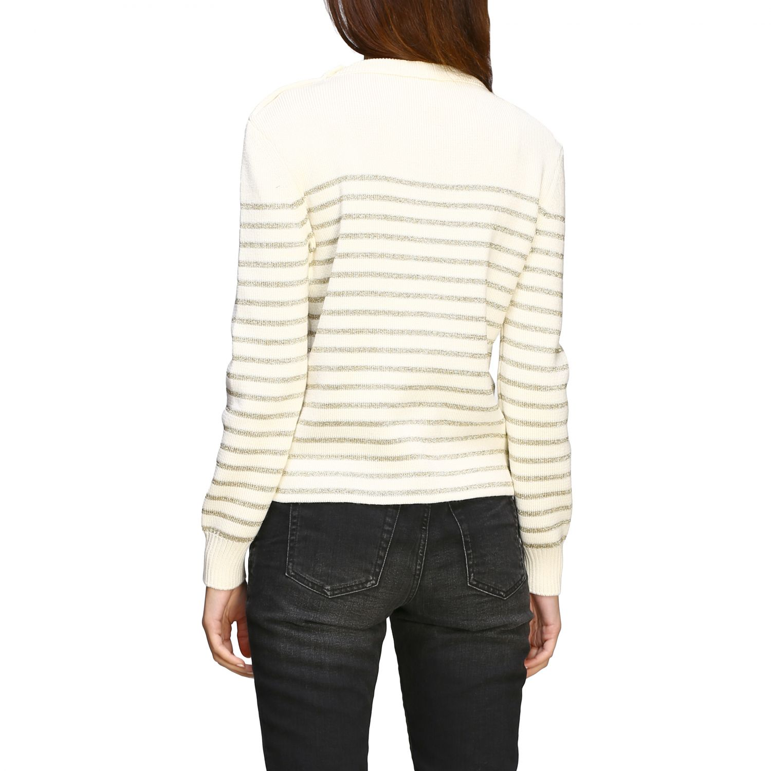 Saint Laurent lurex striped pullover with jewel buttons white 3